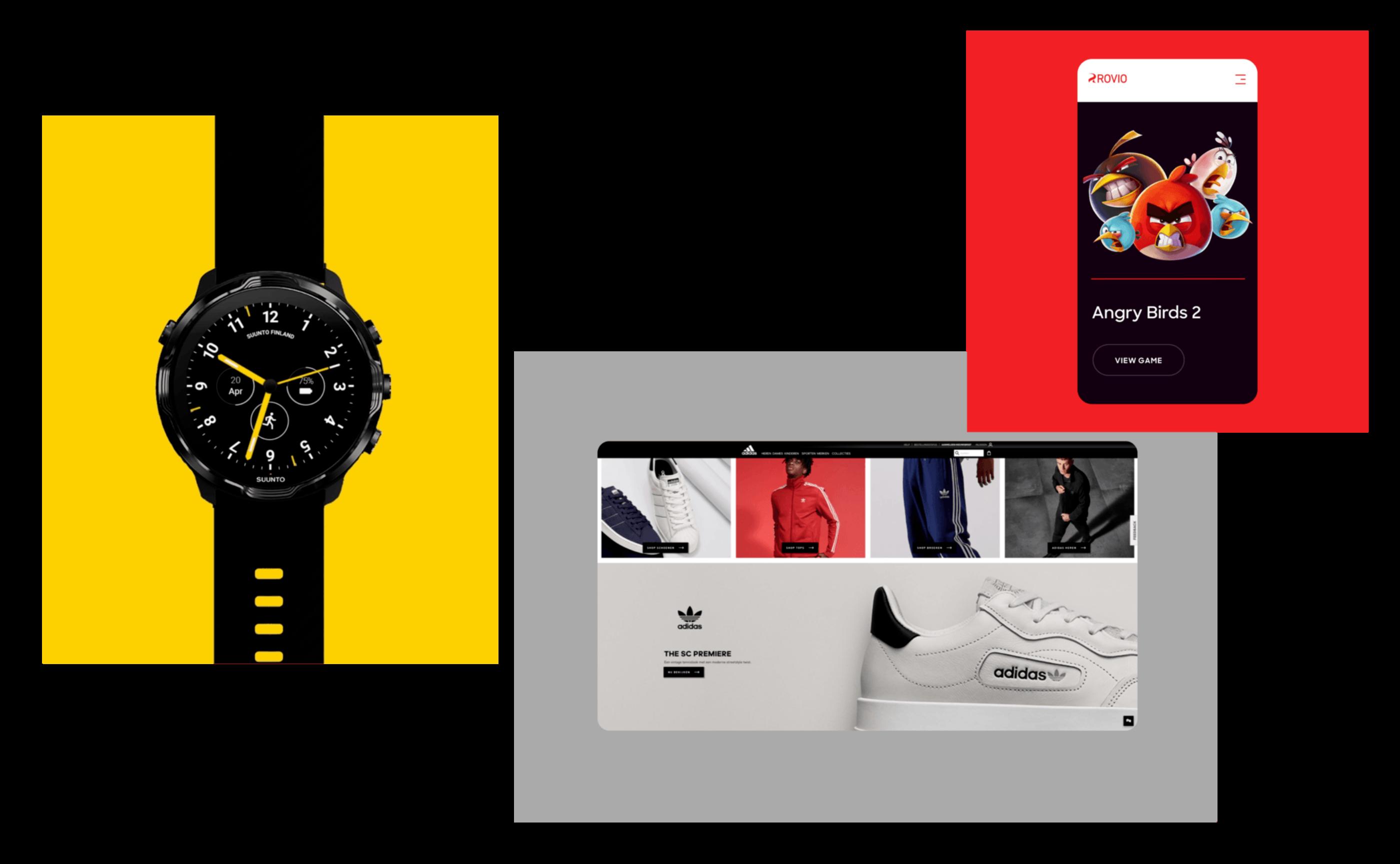 Screens of Rovio, Adidas, and Suunto